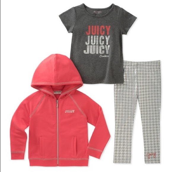 Juicy Couture Other - Juicy Couture Pink Juicy Stacked Zip-Up Hoodie Set